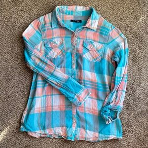 🍊Lightweight Turquoise & Coral Plaid Flannel